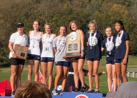 2018 FHS girls cross country team with their second place state trophy.