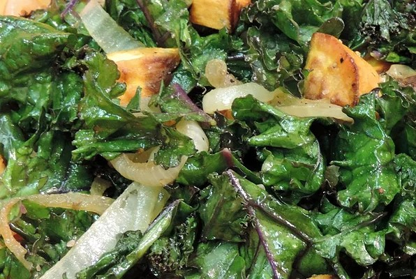Picture from https://www.allrecipes.com/recipe/217266/roasted-yam-and-kale-salad/ on a recipe called Roasted Yam and Kale Salad by an anonymous source.