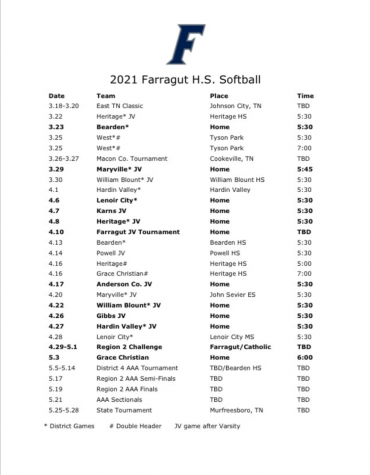 Farragut Softball Schedule 2021