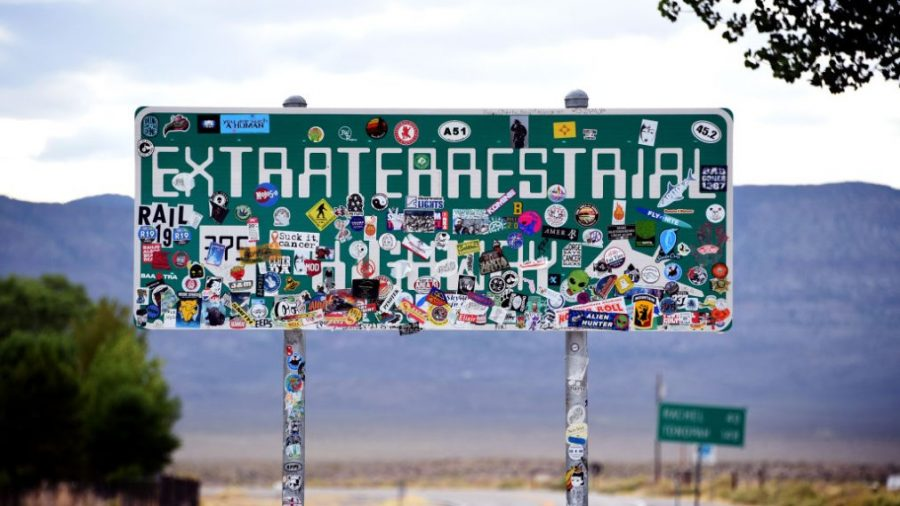 RACHEL, NEVADA - JULY 22:  An Extraterrestrial Highway sign covered with stickers is seen along state route 375 on July 22, 2019 near Rachel, Nevada. State officials drew inspiration from the alien legends at the nearby top-secret military installation known as Area 51 and dubbed the 98 mile route from U.S. highway 93 to U.S. highway 6, the Extraterrestrial Highway in February 1996. A Facebook event entitled,