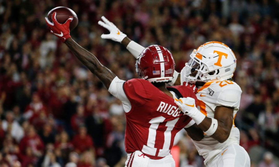 Oct 19, 2019; Tuscaloosa, AL, USA; Tennessee Volunteers defensive back Bryce Thompson (20) breaks up a pass intended for Alabama Crimson Tide wide receiver Henry Ruggs III (11) during the first half of an NCAA football game at Bryant-Denny Stadium. Mandatory Credit: Butch Dill-USA TODAY Sports
