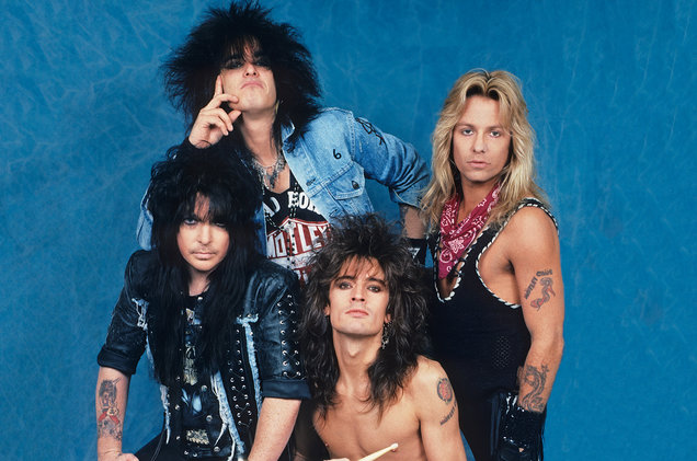 The Motley Crue in their glory days. (L to R: Mick Mars (guitar), Nikki Sixx (bass), Tommy Lee (drums), and Vince Neil (vocals))